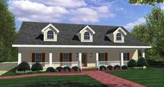 """A front porch 6'4"""" deep and a rear patio adorn the exterior of this lovely southern country home plan. Three dormers on the roof capture the eye and add interest. A long foyer leads to the extra large great room warmed by a ventless gas fireplace. Split bedrooms give the master bedroom privacy.  Related Plans: For an alternate exterior 2520DH, 2521DH and 2540DH."""