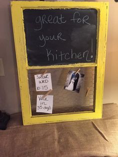 Wooden distressed chalkboard chicken wire by SandJBargainVault