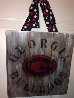Personalized Family Name Wood Sign: UGA Georgia Bulldog for your home or your front door on Etsy, $27.95