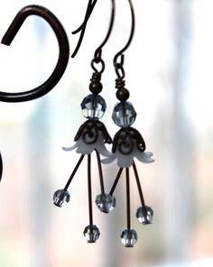 Handmade Earrings Winter Ice Flowers Brass by JensFancy on Etsy, $22.00