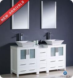 "60"" Fresca Torino (FVN62-241224WH-VSL) Modern Double Sink Bathroom Vanity w/ One Side Cabinet"