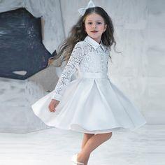 9f9db43b85b5 Vestidos De Comunion 2016 Lace Kids Evening Gowns Billige Flower Girl  Kjoler Til Bryllupper Prinsesse Pretty Little Girl Prom Kjole