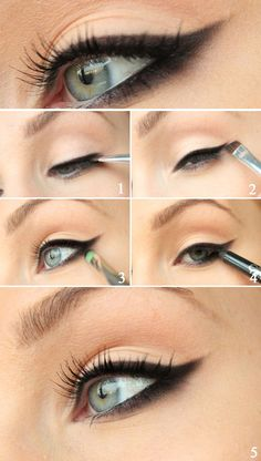 Blackened eyeliner to the New Year! (Black eyeshadow, Small eyeshadow brush, Black eyeliner and black mascara) (Best Eyeshadow Brushes) Best Makeup Tutorials, Best Makeup Products, Makeup Ideas, Emo Makeup Tutorial, Black Eyeshadow Tutorial, Winged Eyeliner Tutorial, Winged Liner, Simple Eyeliner Tutorial, Winged Eyeliner Tricks