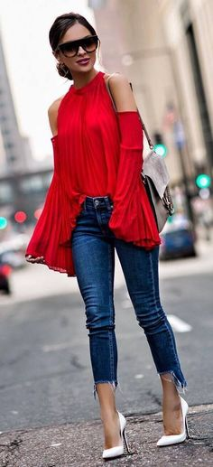 fashionable oufit idea red blouse bag skinnies heels