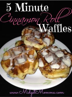 These 5 Minute Cinnamon Roll Waffles are the BEST waffles. Kids will LOVE them! Takes ONLY 5 minutes to make!