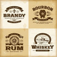 brandy bourbon wsiky rum old retro decoupage graphic Vintage Labels, Vintage Ads, Vintage Prints, Vintage Party, Drink Labels, Bottle Labels, Printable Labels, Printables, Labels Free