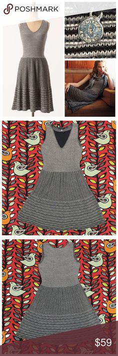 """Test Pattern Sweater Dress by Knitted & Knotted Black and beige with flecks of silver. Excellent preloved condition. Blend - cotton/wool/rayon/poly and metallic. Attached rayon knit slip. Per Anthropologie - 'Layered and lined with layers of lines, this silver-flecked dress is an achromatic success. Pullover styling. 16.5"""" pit to pit. 52"""" overall length. No trades. No PayPal. Price firm unless bundled. Anthropologie Dresses"""