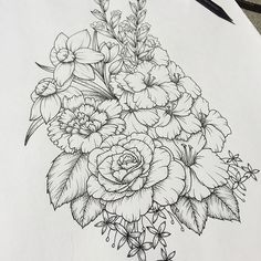 Closer shot #flowers #art #drawing #linedrawing #daffodils #rose #tattoo #floral #commission #custom #etsy