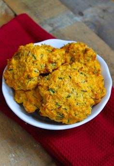 Sweet Potato Drop Biscuits with Chives and Cheddar (grain-free, paleo friendly)