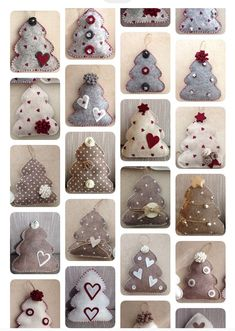 1 to 10 Handmade Felt Christmas Tree Ornaments of your choice, hanging or self standing – Gardening for beginners and gardening ideas tips kids Retro Christmas Tree, Handmade Christmas Tree, Felt Christmas Decorations, Felt Christmas Ornaments, Christmas Diy, Diy Ornaments, Beaded Ornaments, Homemade Christmas, Glass Ornaments