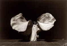 """""""Loie Fuller (1862–1928) was a pioneer of both modern dance and theatrical lighting techniques. Fuller combined her choreography with silk costumes illuminated by multi-coloured lighting of her own design."""""""