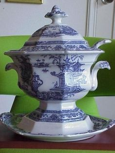 Antique Purple Temple Staffordshire Transferware Tureen | eBay