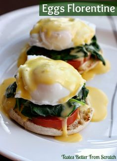 Eggs Benedict with Homemade Hollandaise Sauce Easy Homemade Eggs Florentine Egg Recipes, Brunch Recipes, Cooking Recipes, Healthy Recipes, Cooking Stuff, Brunch Ideas, Yummy Recipes, Breakfast Dishes, Eggs