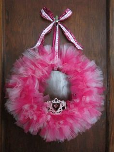 Pretty in Pink Princess Wreath made by JojosTulleShack.com