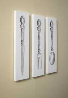 Set of 3 white cutlery canvasses kitchen dining shabby vintage chic canvas