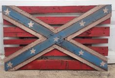 Confederate flag made from pallet wood