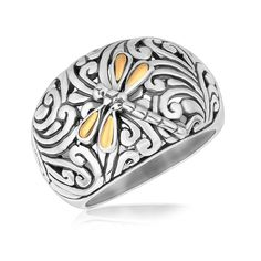 18K Yellow Gold and Sterling Silver Dragonfly Accented Domed Style Ring – ResellerHub.store