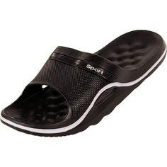 Cammie Men's Textured Slip On Sport Black Sandals 7 D(M) US $10