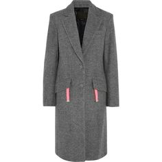Alexander Wang Wool-blend coat ($675) ❤ liked on Polyvore featuring outerwear, coats, dark gray, slim fit coat, wool blend coat, alexander wang coat, alexander wang and slim coat