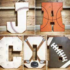 Sports themed wall letters for nursery or kids room! Kids Sports Bedroom, Vintage Sports Nursery, Boys Room Design, Letters For Kids, Baby Boy Rooms, Baby Bedroom, Letter Wall, Room Themes, Room Kids