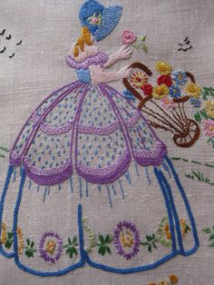 A typical crinoline lady embroidery. SO PRETTY  NONE OF MY FAMILY WERE CRAFTERS OF ANYTHING SO THEREFORE I JUST ADMIRE THOS WHO ARE.