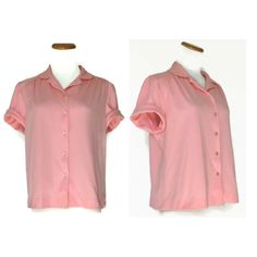 Pink Blouse / Scallop Top / Pink Top / Scallop Blouse / Pink Shirt / Indie Top / Dolly Blouse / Pastel Top / Scalloped Top / Medium by GoodLuxeVintage on Etsy