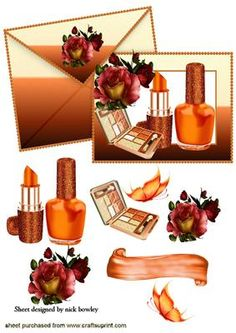 PRETTY ORANGE VARNISH AND MAKEUP ON CARD AND ENVELOPE on Craftsuprint - Add To Basket!