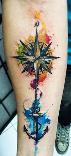 Watercolor Compass Arm Tattoo - MyBodiArt.com
