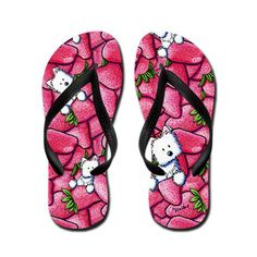 KiniArt Westie Strawberry Flip Flops by Contemporary PUP Artist, Kim Niles, sold at http://www.cafepress.com/kiniart.566729263