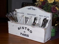Wood Silverware Caddy, Home Decor Utensil Holder, Shabby Cottage Chic, Beach Country French, Primitive Farmhouse, Paris Bistro, Color Choice...