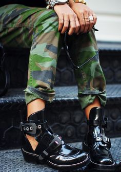 camo pants & balenciaga boots #shoes #style #fashion