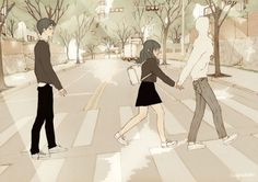 Image in anime-manga couple ♥ collection by zillion Manga Couple, Anime Love Couple, Couple Cartoon, Couple Illustration, Illustration Art, Liz Clements, Cover Wattpad, Triangle Love, Bts Art