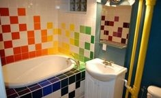 carrelage salle de bain multicolore