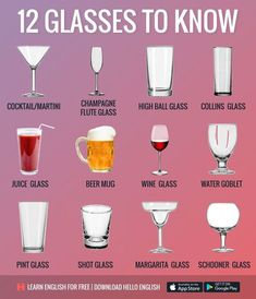 English Vocabulary ©: 12 Glasses to Know Food Vocabulary, English Vocabulary Words, English Words, English Writing, English Tips, English Lessons, Hello English, Learn English For Free, Dining Etiquette