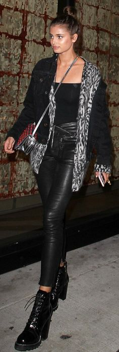 Who made  Romee Strijd's silver handbag, denim jacket, and black leather pants?