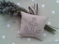Embroidered Anchor Lavender Bag