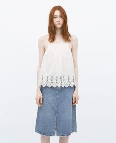 ZARA - NEW THIS WEEK - EMBROIDERED BIB FRONT TOP
