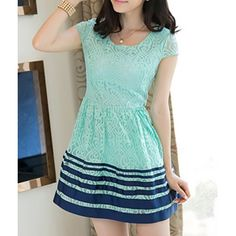 Cute Scoop Neck Short Sleees Lace A-Line Mini Dress For WomenLace Dresses   RoseGal.com