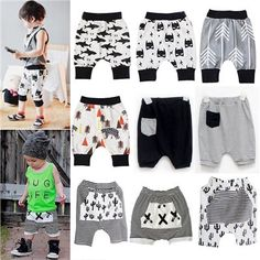 Baby Boys Girls Harem Pants Baggy Striped Shorts Kids Trousers Bottoms Sweatpant…