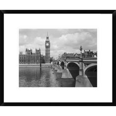 Found it at Wayfair - Westminster Bridge Showing Big Ben, 1959 by Philip Gendreau Framed Photographic Print