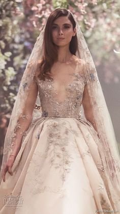 <img> paolo sebastian spring 2018 couture long sleeves illusion jewel v neck heavily embellished bodice princess blush color ball gown a line wedding dress zv — Paolo Sebastian Spring 2018 Couture Collection - Dream Wedding Dresses, Bridal Dresses, Wedding Gowns, Flower Dresses, Jw Moda, Couture Dresses, Beautiful Gowns, Dream Dress, Pretty Dresses