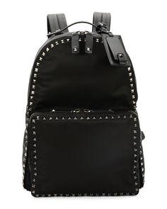 006b37101d3 Red Valentino Rockstud Nylon Backpack, Black Backpack Purse, Leather  Backpack, Black Backpack,