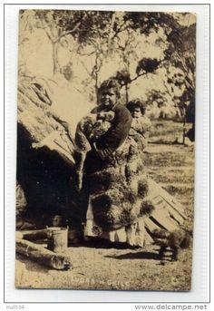 Australia Aborigine Super Real Photo Postcard Lubra And Child Female Aboriginal Circa 1905 - Aborigines