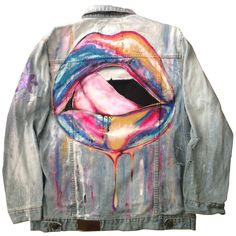 Custom hand painted jean jacket with an abstract colored mouth with tongue licking lips. This multi colored piece of art will match up with any and everything you put on with it. For both Men and Women. Custom made to order custom pieces may be slightly different from the product shown