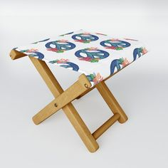 Painted with Peace Folding Stool by vanid Patterned Furniture, Folding Stool, When It Rains, Kick Backs, Table Cards, Kids Cards, Cold Drinks, Stools, Solid Wood