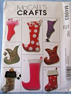 McCalls Crafts M4993 Christmas Stockings Patterns for 8 Uncut #McCall