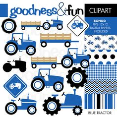 Buy 2 Get 1 FREE  Blue Tractor Clipart  Digital by goodnessandfun