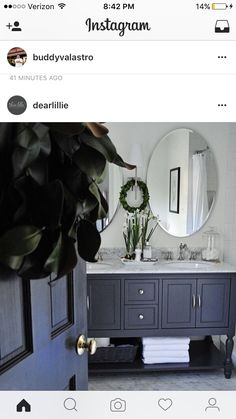 Welcome to our stop on the 2016 Holiday Housewalk! You can start the tour over at our lovely host, Jennifer Rizzo& : And if y. Upstairs Bathrooms, Master Bathroom, Dear Lillie, Magnolia Leaves, Under Stairs, Bathroom Interior Design, Sweet Home, Vanity, House Design