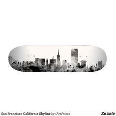 San Francisco California Skyline Skateboard - Supreme Hard-Rock Maple Deck Custom Boards By Talented Fashion & Graphic Designers - #skating #skater #skateboarding #shopping #bargain #sale #stylish #cool #graphicdesign #trendy #design #designer #graphicdesigner #style