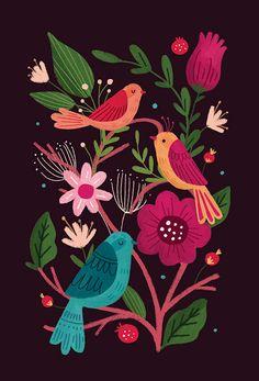 Resultado de imagen de Scandinavian Folk Art Flowers by harriett Art And Illustration, Cat Illustrations, Folk Art Flowers, Flower Art, Art Floral, Bordado Popular, Kunst Inspo, Art Diy, Ouvrages D'art